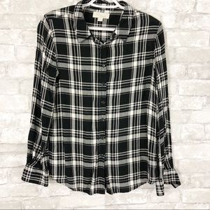 Olive & Oak Black White Plaid Button Down Shirt